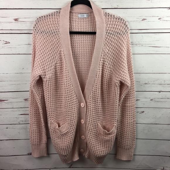 Tobi Pink Knit Crochet Oversized Cardigan Sweater Poshmark